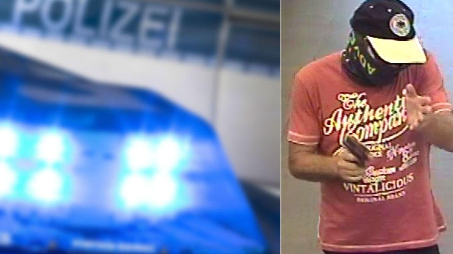 Bildmontage: Polizeiblaulicht/Gesuchter Bankräuber