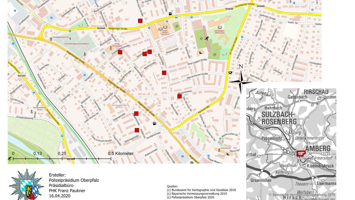 Karte mit Tatorten