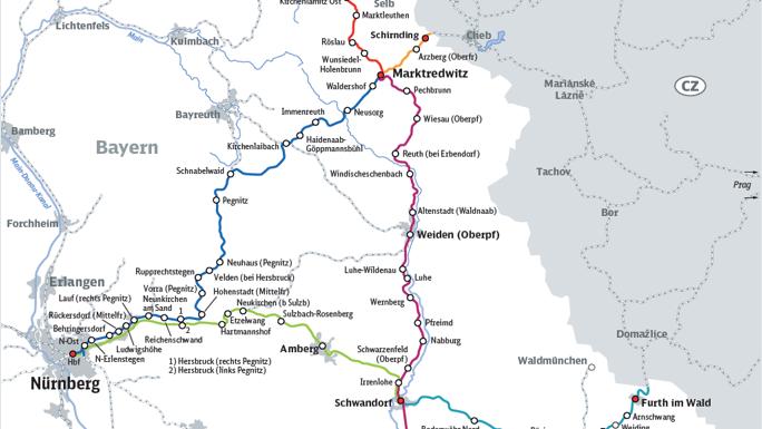 Streckenkarte zum Bahnausbau Nordostbayern.