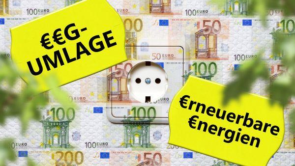 """Steckdose verklebt mit Geldscheinen und dem Plakat """"EEG-Umlage"""""""