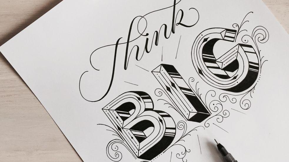 """Schriftzug """"Think Big"""" von Handlettering-Künstlerin Hannah Rabenstein"""