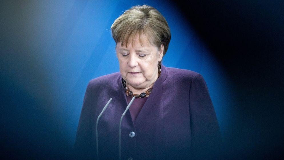 Bundeskanzlerin zum Anschlag in Hanau | Bild:dpa-Bildfunk/Kay Nietfeld