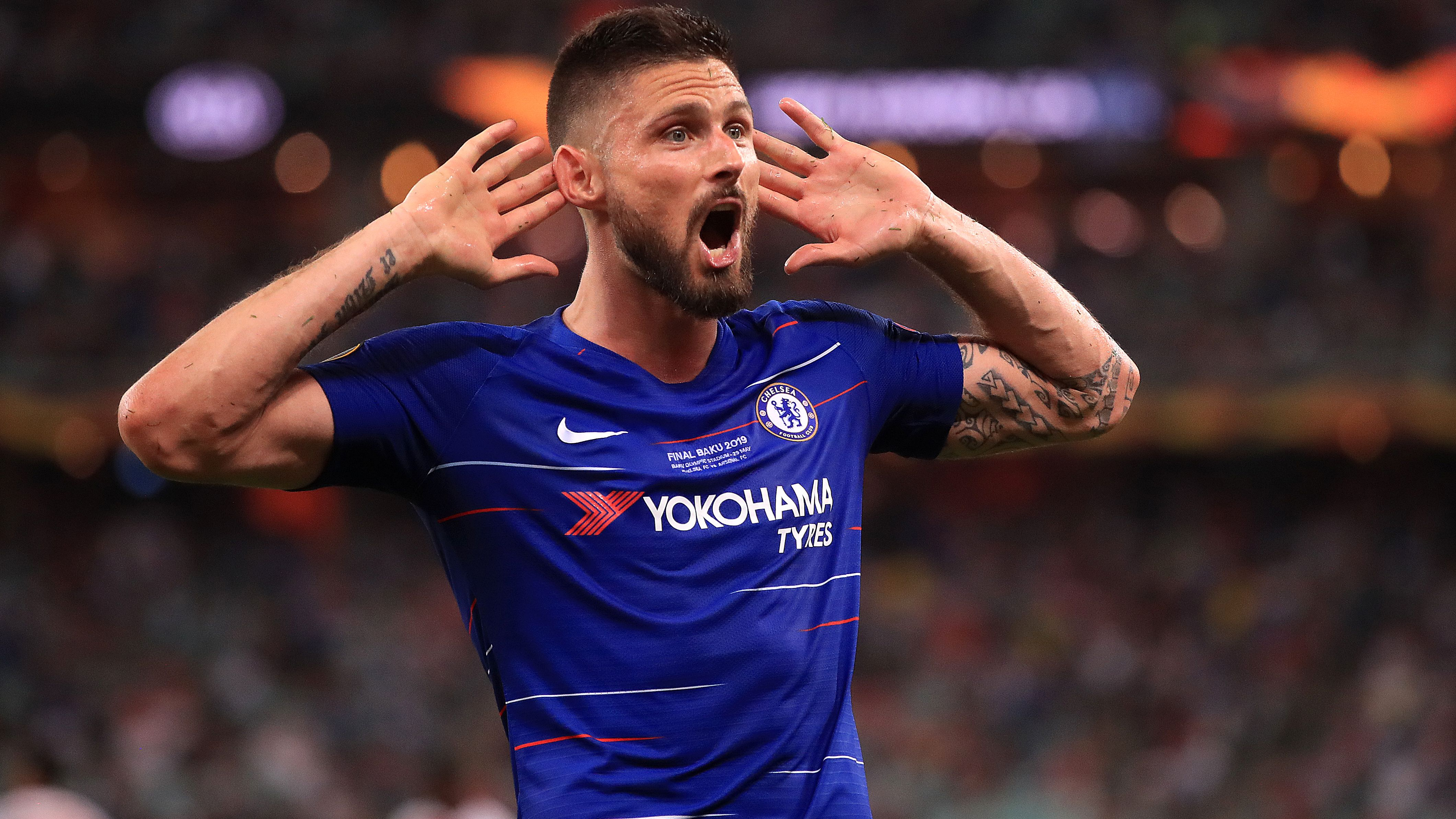Chelsea's Olivier Giroud beim Jubel im Euro League-Finale in Baku