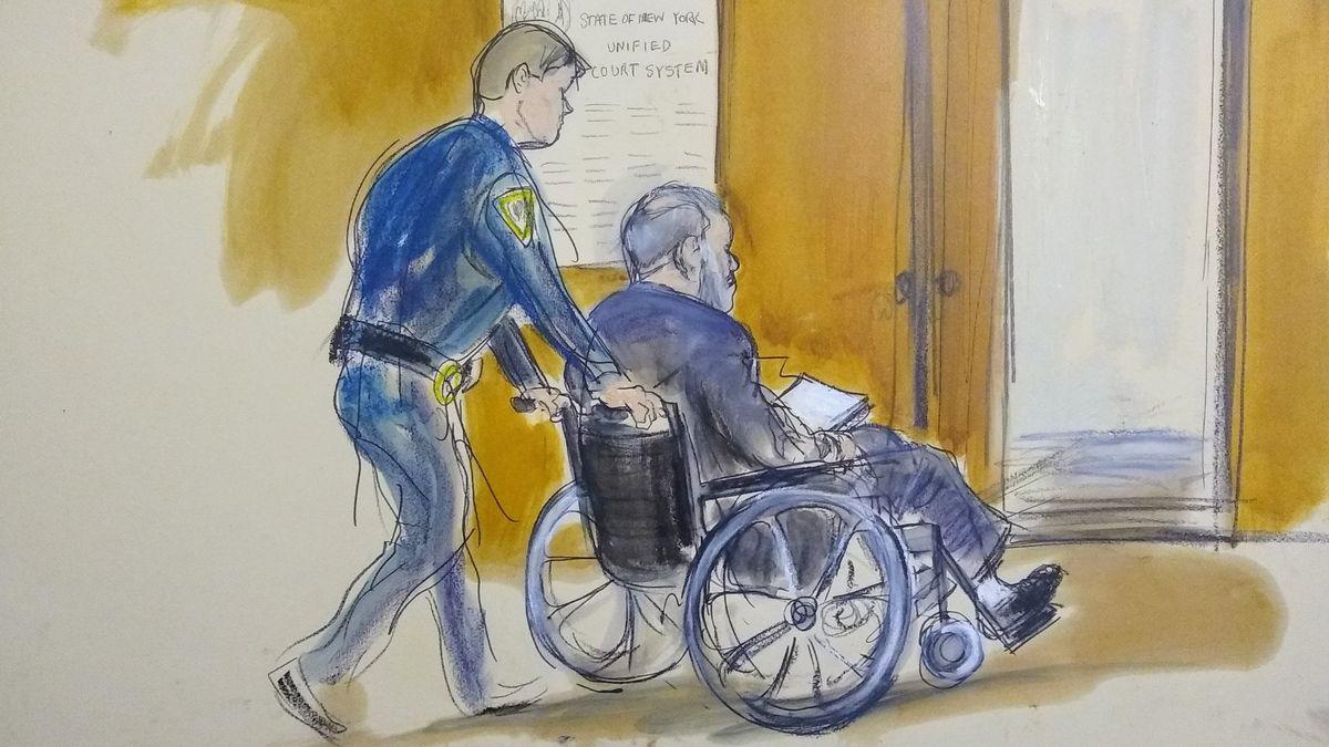 Eine Gerichtssaal-Skizze stellt Harvey Weinstein dar, wie er von einem Gerichtsbeamten aus einem Gerichtssaal gefahren wird.