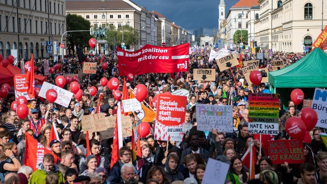 Demonstration gegen die Politik der CSU in Bayern