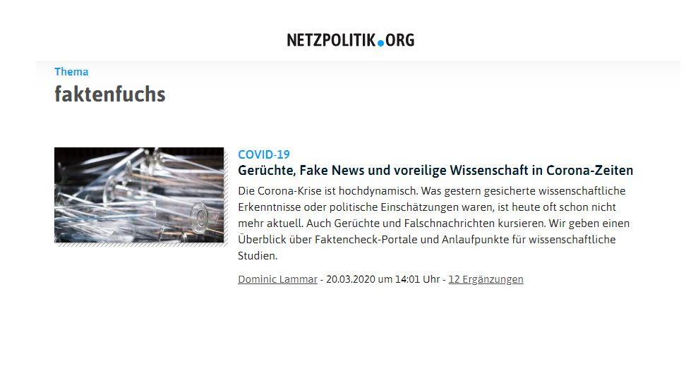 Netzpolitik.org spricht über den #Faktenfuchs