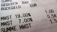 Kassenzettel mit ausgewiesener Mehrwertsteuer | Bild:dpa-Bildfunk / Oliver Berg