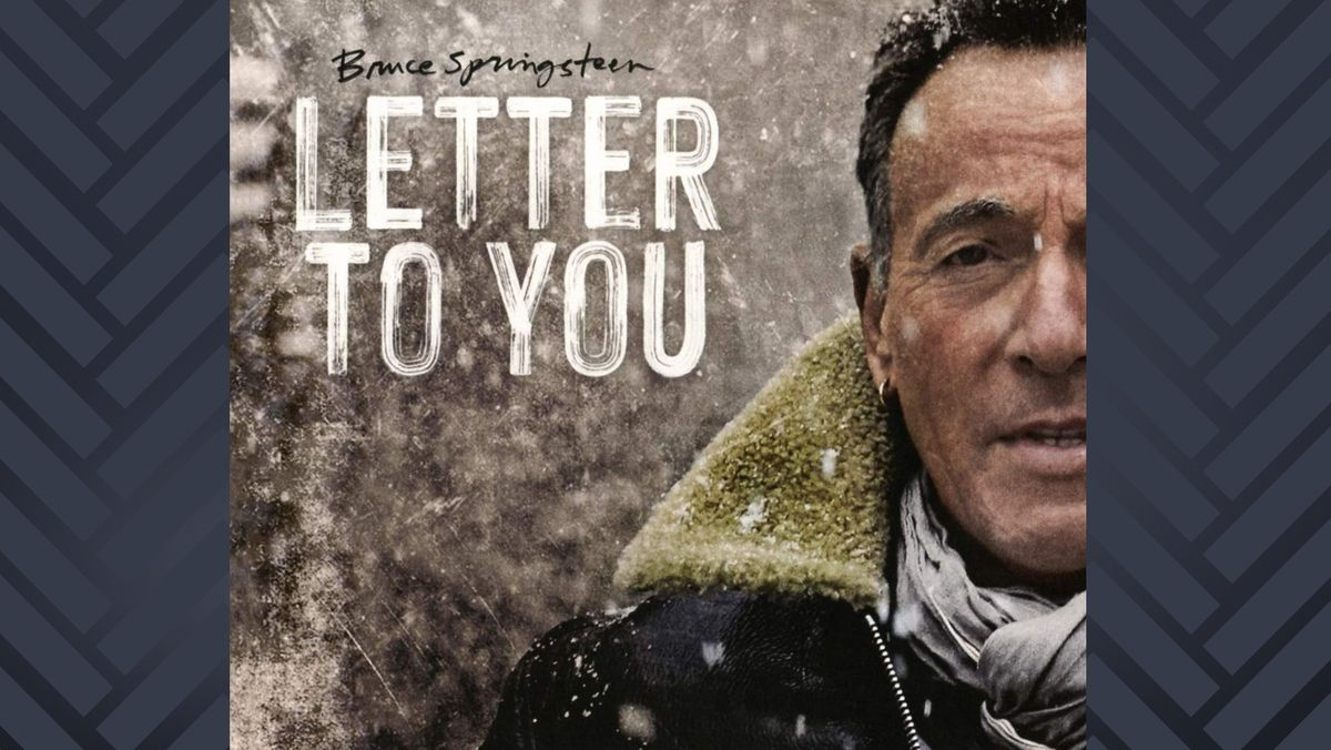 """CD-Cover """"Letter To You"""" mit dem angeschnittenen Porträt von Bruce Springsteen im Schneefall"""