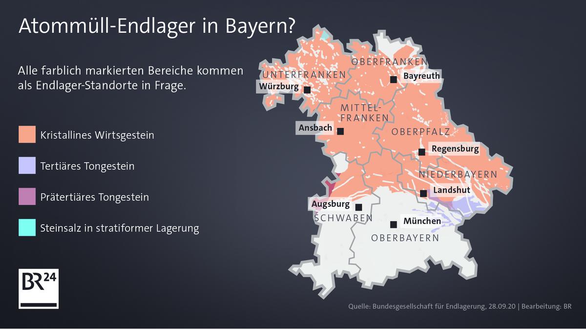 Geeignete Gebiete für ein mögliches Atommüll-Endlager in Bayern