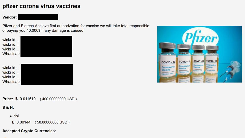 Ein Screenshot einer Webseite, auf der man gefälschte Impfdosen bestellen kann.