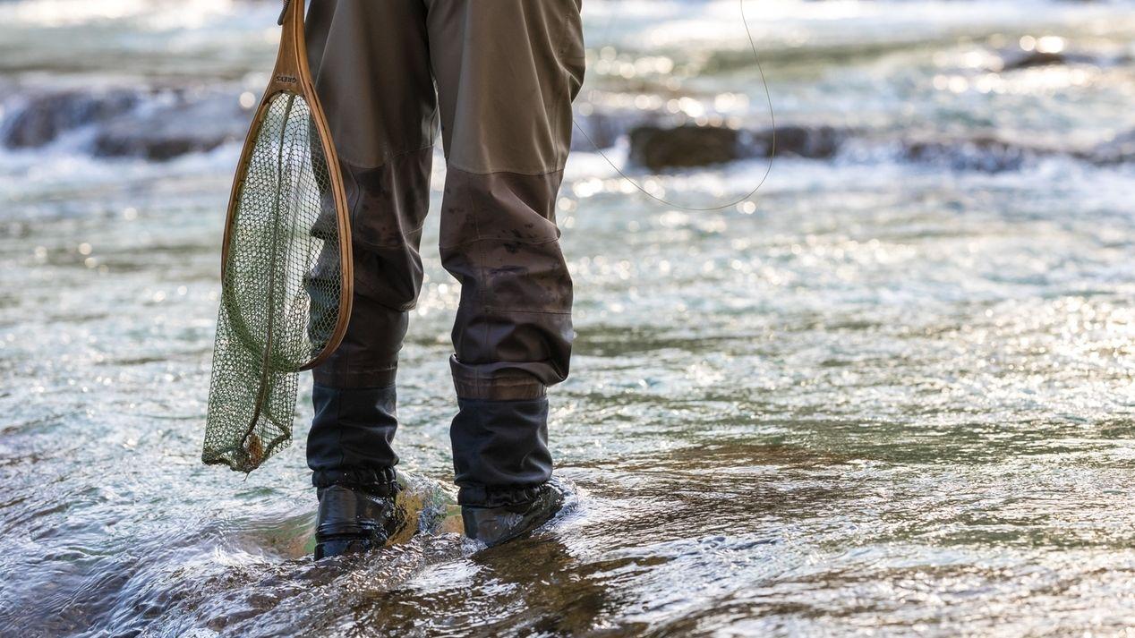 Angler in Wathosen mit Kescher in einem Flussbett stehend (Symbolbild)