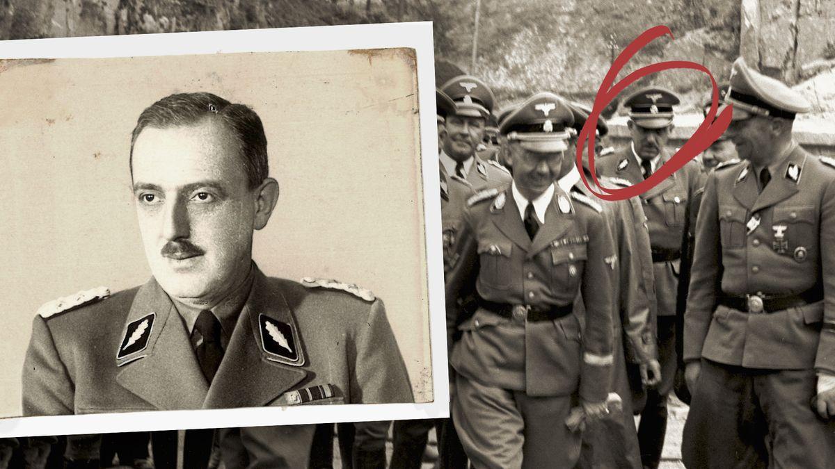 Fotografie von Franz Josef Huber über einem Foto einer Gruppe SS-Offizieren, die mit Heinrich Himmler 1941 das KZ Mauthausen besuchen