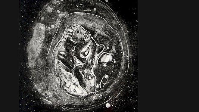 Auf schwarzem Hintergrund ist ein weißes Objekt zu sehen. Feine Runde Linien umschließen ein Gebilde. Ist es eine Zelle oder ein Gebilde im Weltraum?