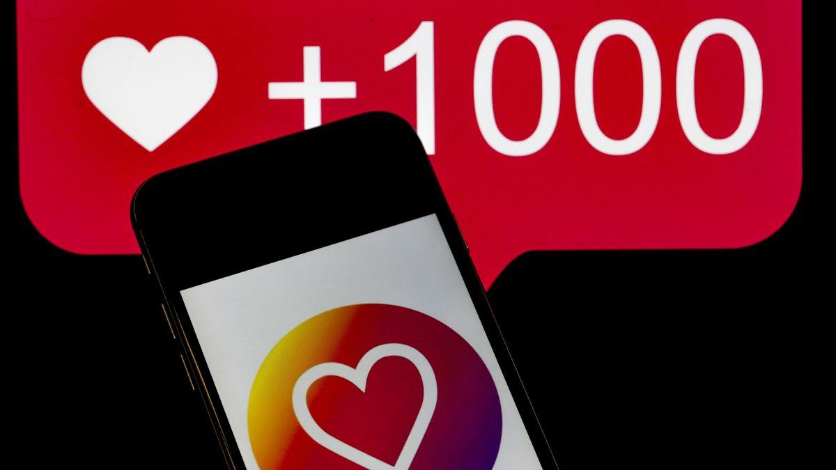 Herzchen-Icon auf Instagram-Button