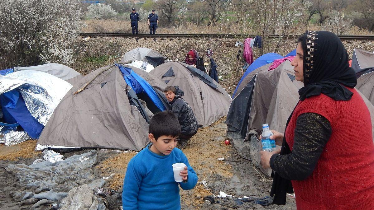 12. März 2016, Grenze Nordmazedonien/Serbien.