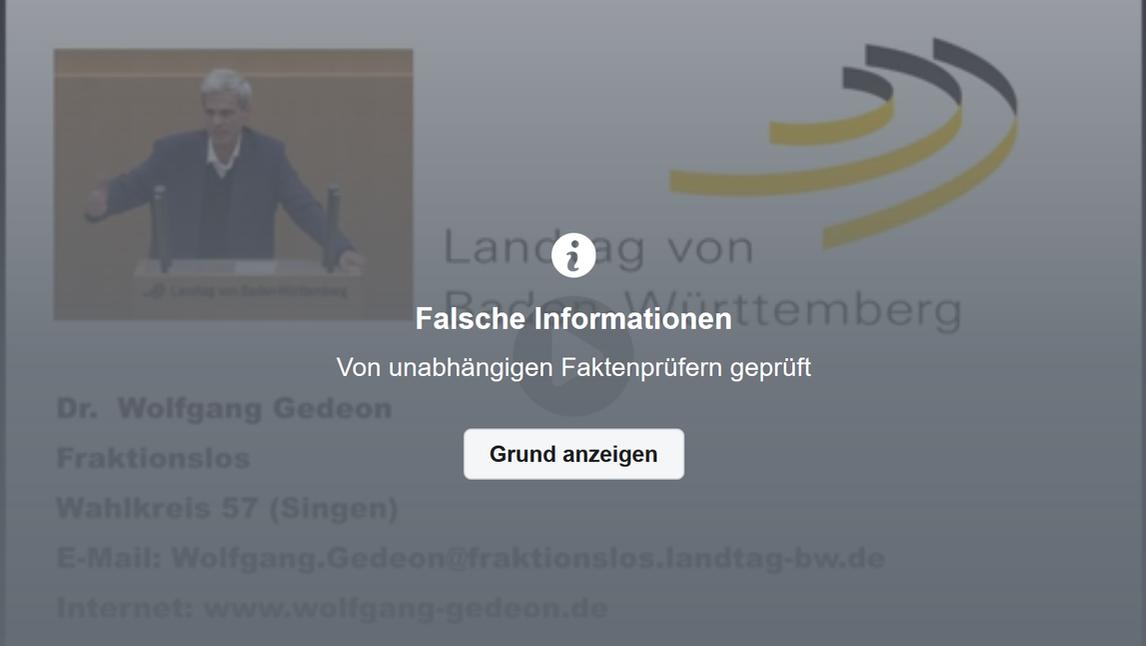 Facebook-Warnung vor Falschinformation