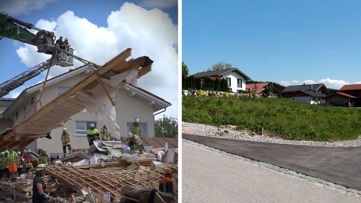 Ein Jahr nach der Hausexplosion in Rettenbach: Das zerstörte Haus und die Blumenwiese heute