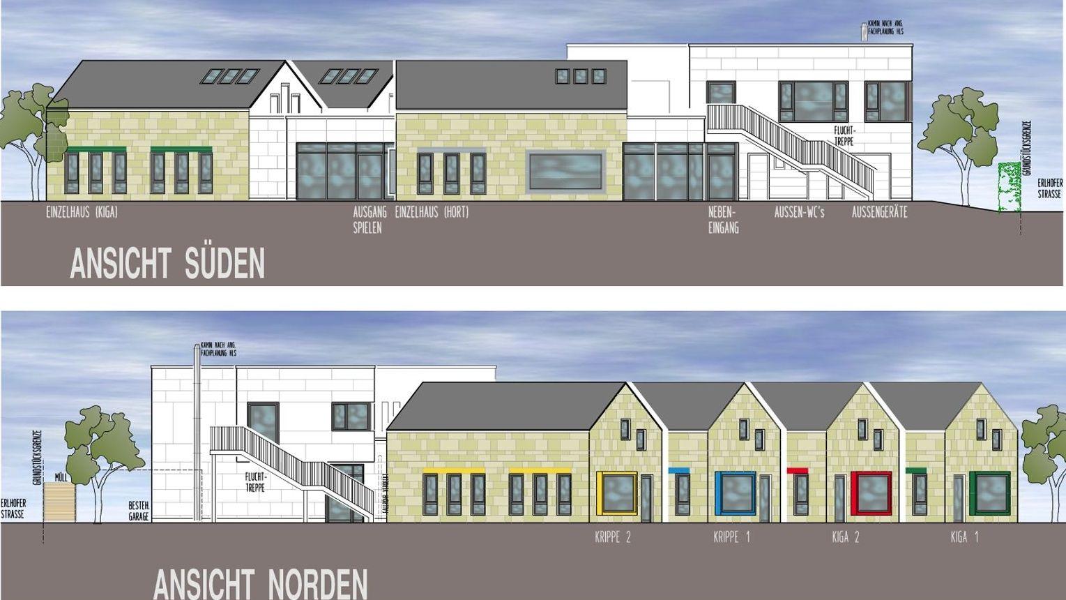 Die Pläne vom Kinderhaus in Hof zeigen vier Häuser, dahinter ein Flachbau mit einer Außentreppe.
