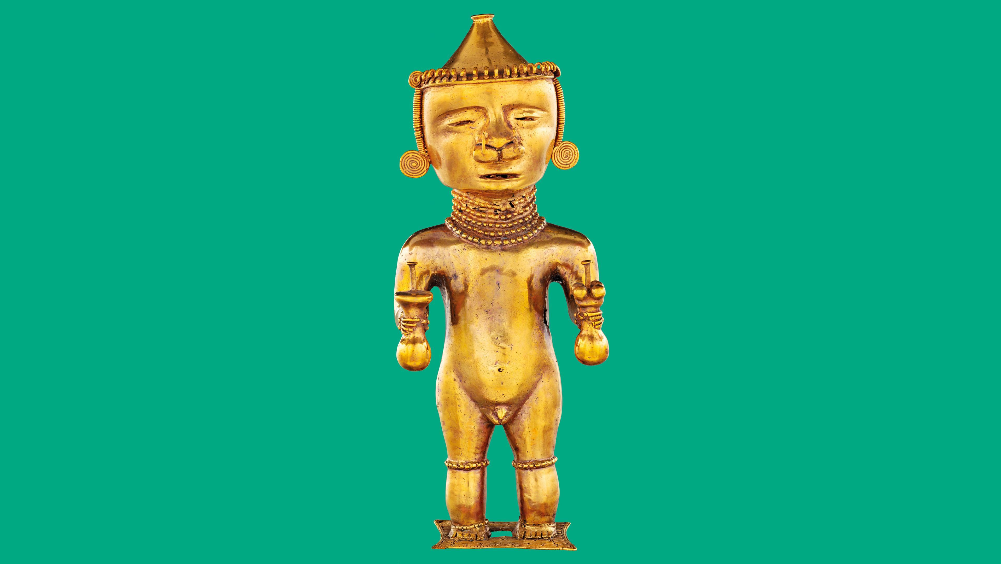 Die Kazike, ein Beispiel der Goldschmiedekunst der Quimbaya im heutigen Kolumbien, zeigt vermutlich einen Priesterfürsten.