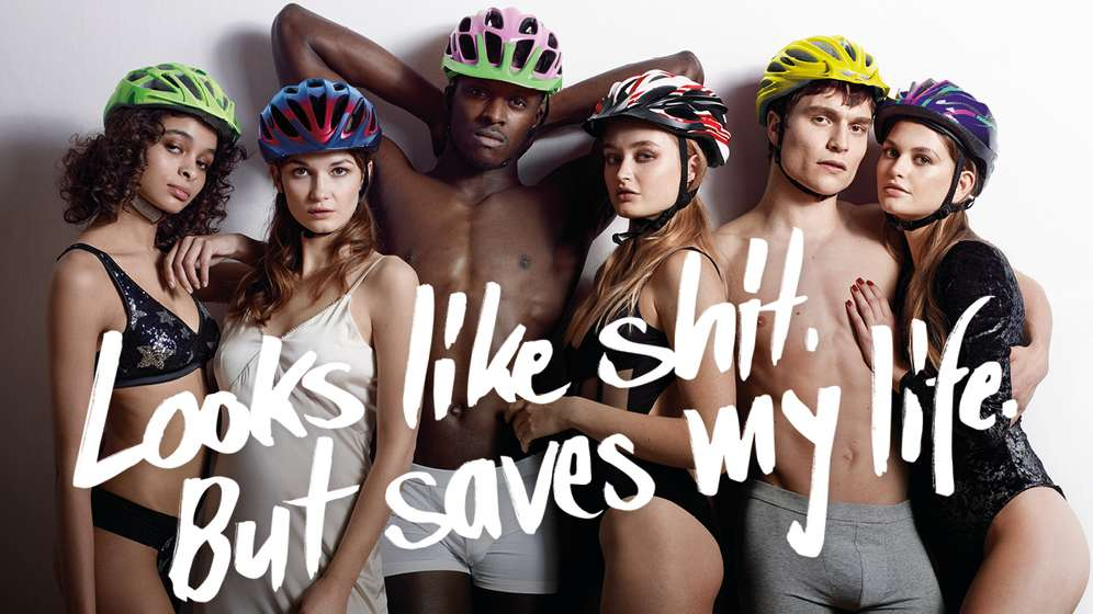 Helmkampagne: Looks like shit. But saves my life | Bild:Bundesverkehrsministerium
