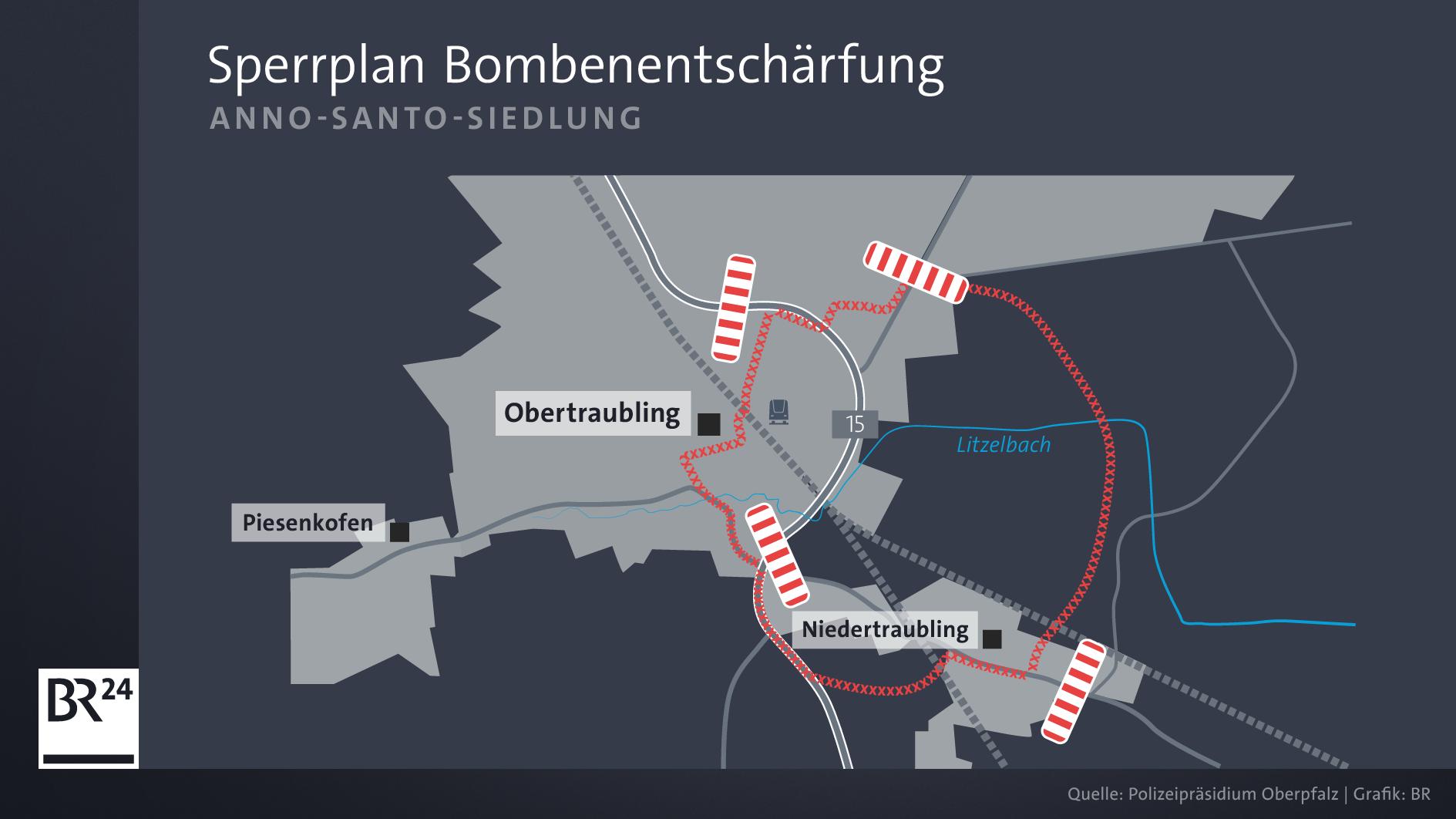 Die Polizei hat einen Sperrradius von 700 Metern rund um den Fundort ausgewiesen. Hier sollen die Bürger ihre Wohnungen räumen.
