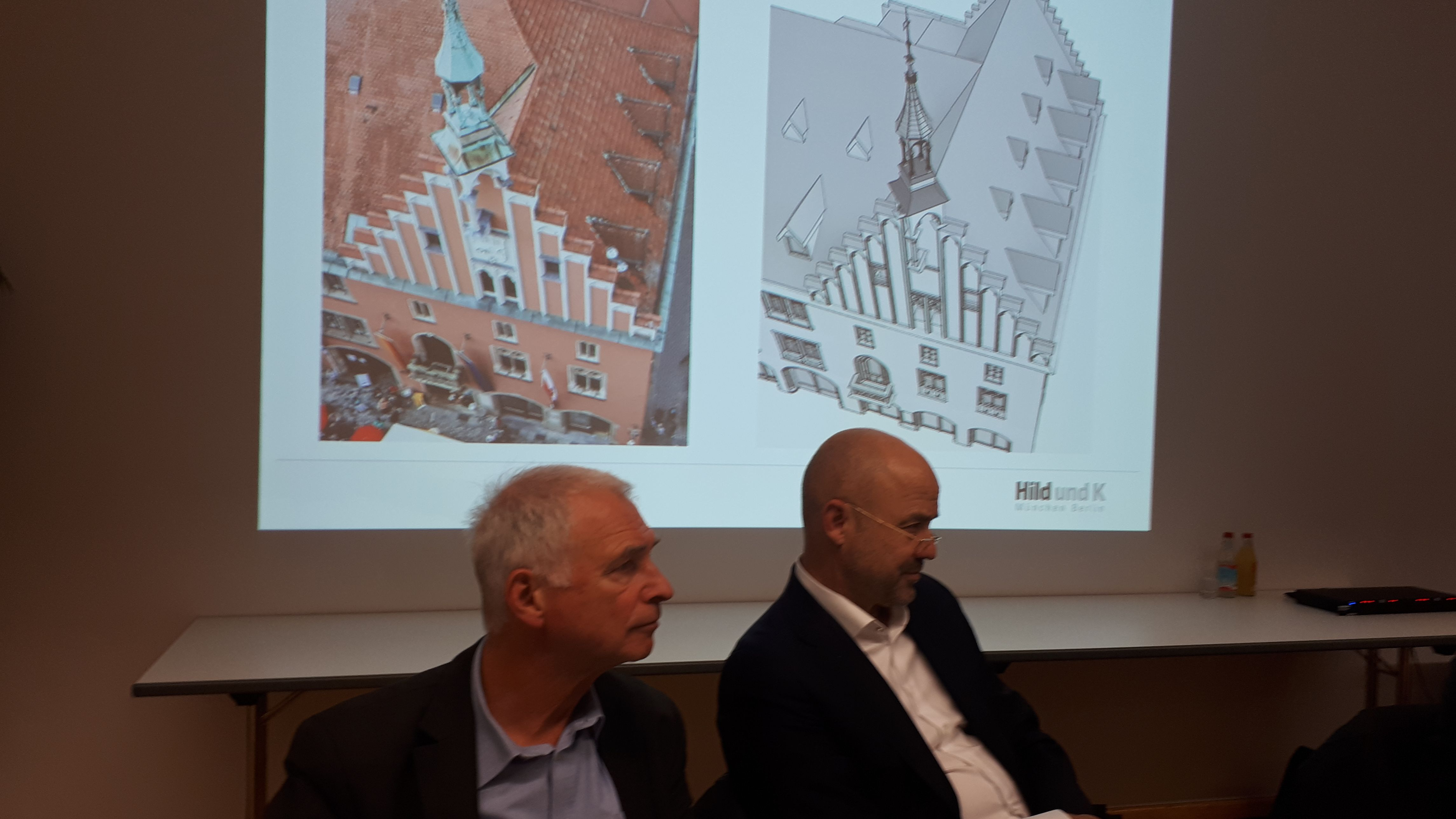 Links: Leiter Bauamt Wolfgang Bach, rechts: Architekt Prof. Andreas Hild