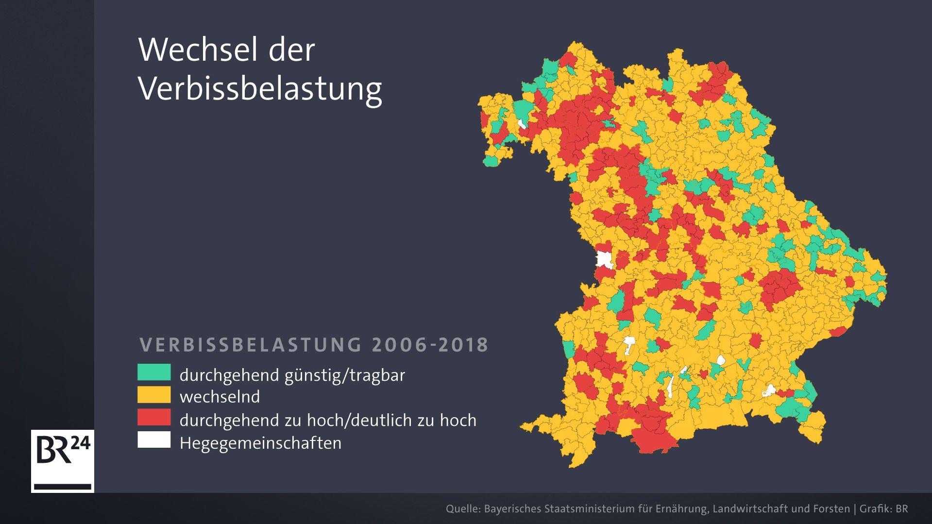 Der Wechsel der Verbissbelastung zwischen 2006 und 2018