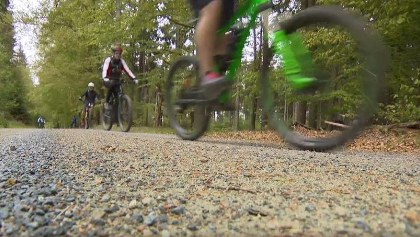 Mountainbiker sind im Fichtelgebirge auf einem geschotterten Weg unterwegs.