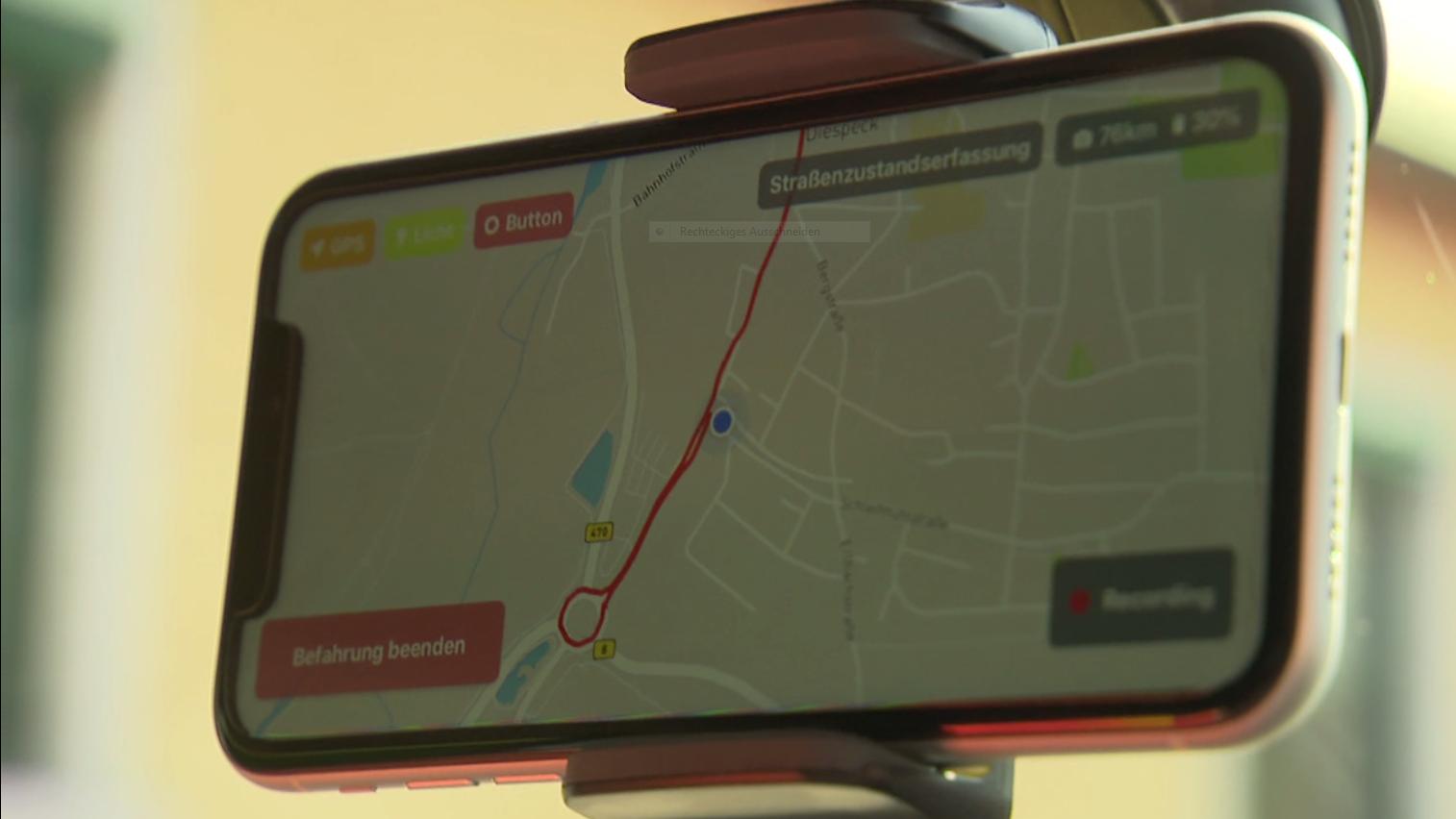 Ansicht aus der Straßenschäden-App Vialytics