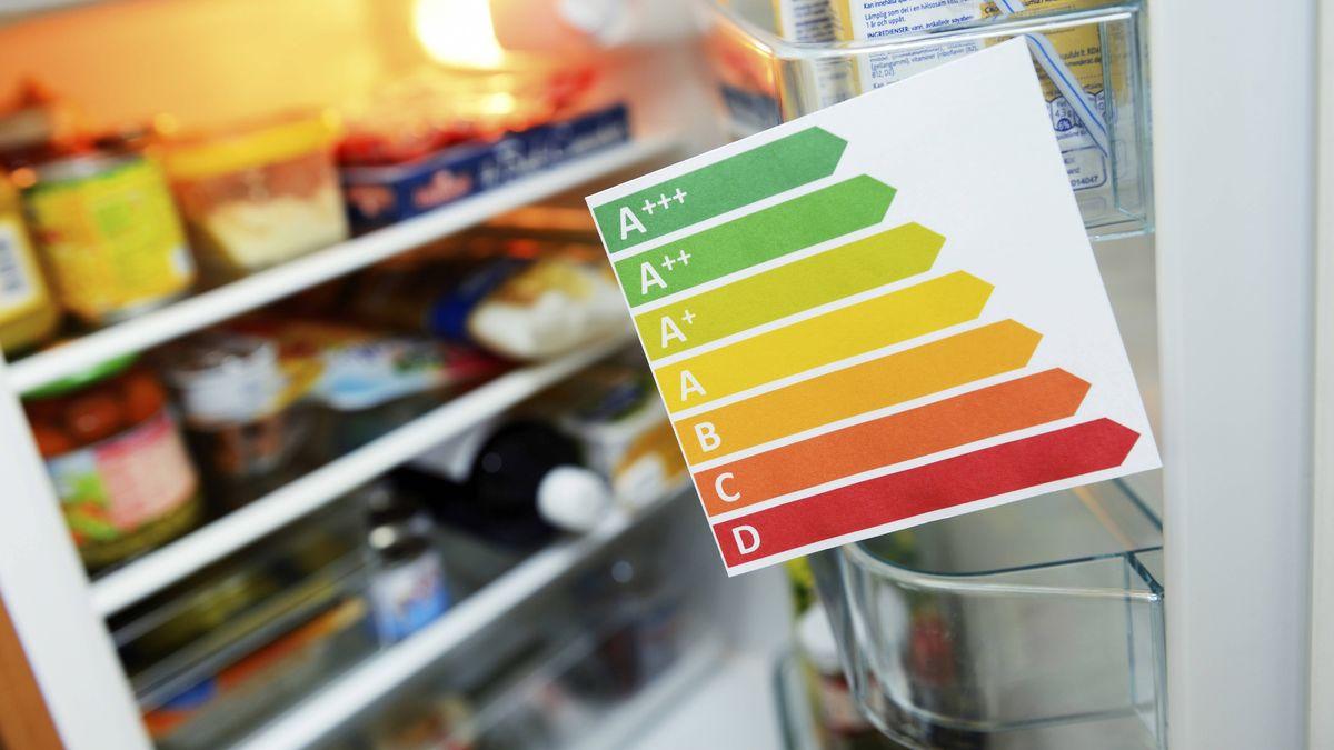 Ein offener Kühlschrank mit Energielabel