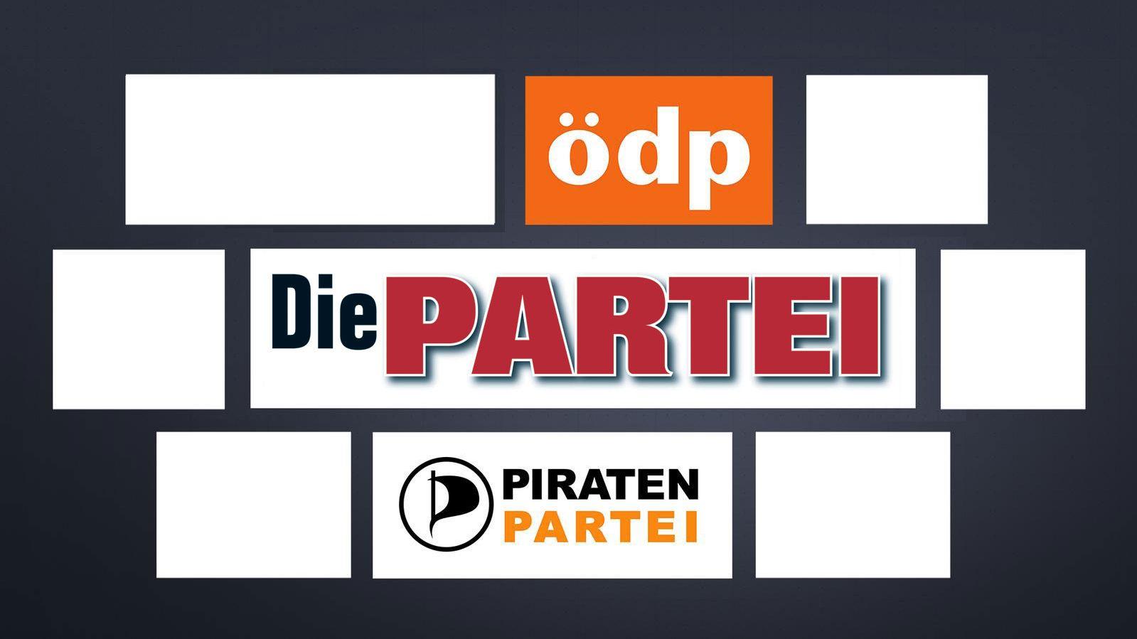 Logos der Parteien ödp, DIE PARTEI und Piratenpartei