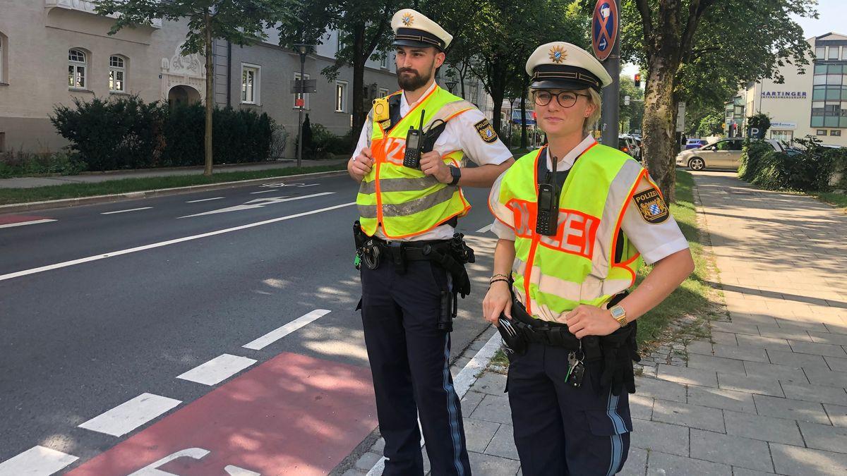 Kontrollaktion am 12.08.2020 am Fahrradweg in Rosenheim.