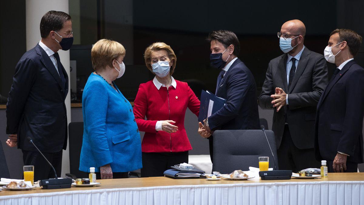 Rutte, Merkel, von der Leyen, Conte, Michel und Macron, Brüssel, 18.7.2020