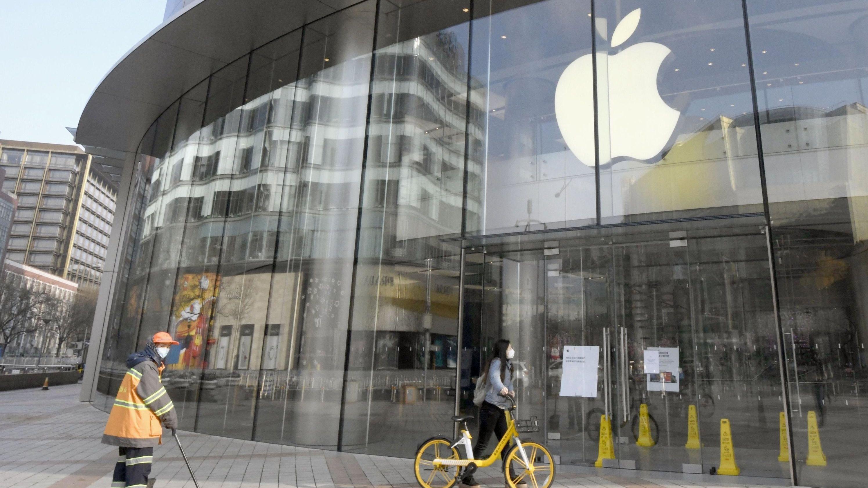 China, Peking: Der Apple Store in Peking war aufgrund des Coronavirus-Ausbruchs vorübergehend geschlossen.