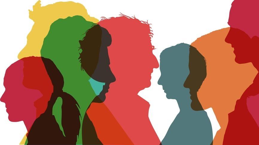 Illustration mit Köpfen in bunten Farben