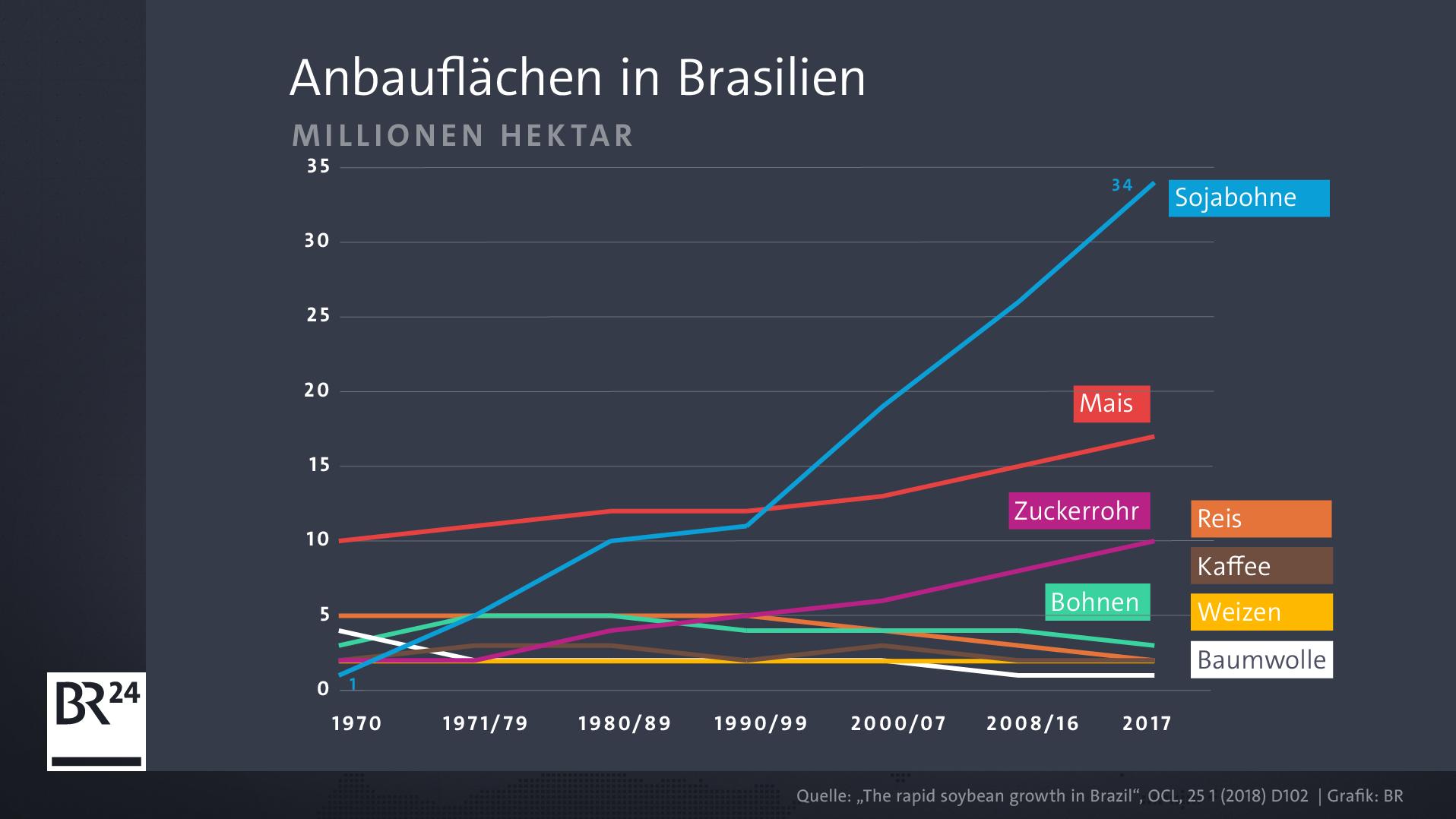 Seit den 1970er-Jahren sind allein in Brasilien mehr als 34 Millionen Hektar Land in Sojaanbauflächen umgewandelt worden.