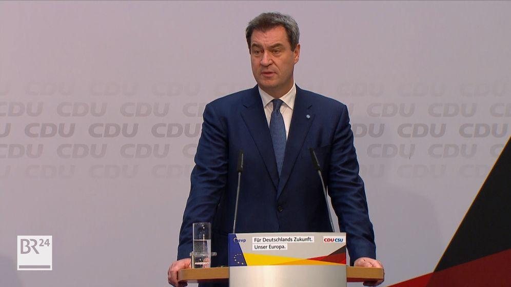 """CSU-Chef Markus Söder sagt zu den Ergebnissen der Europawahl, die Union müsse insgesamt  """"wieder jünger, cooler, offener"""" werden.   Bild:BR"""