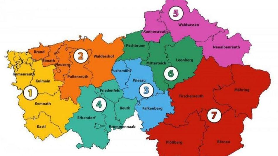 Landkreis Tirschenreuth in sieben Corona-Versorgungsgebiete eingeteilt