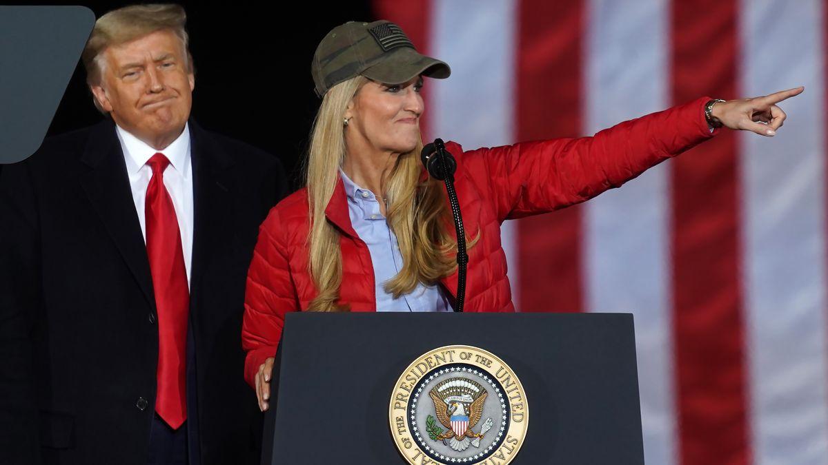 Donald Trump bei einer Wahlveranstaltung der republikanischen Kandidatin Kelly Loeffler