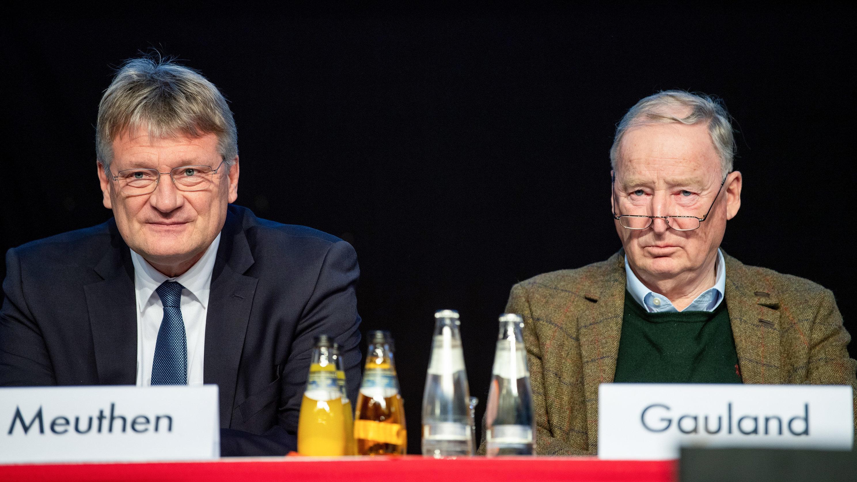 Jörg Meuthen, AfD-Vorsitzender und Spitzenkandidat für die Europawahl 2019, und Alexander Gauland, Fraktionsvorsitzender der AfD im Bundestag.