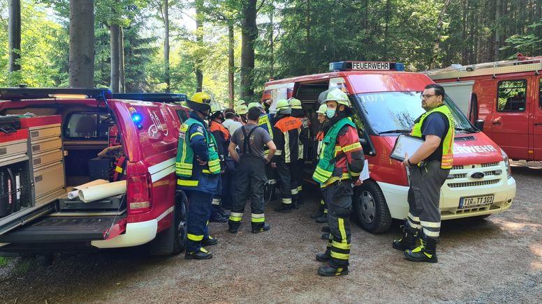 Feuerwehrleute im Wald | Bild:News5 / Wellenhöfer