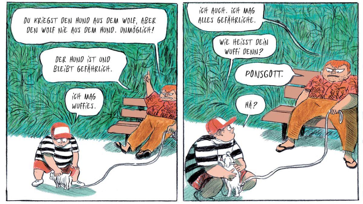 """Szene aus Mikaël Ross' Comic """"Der Umfall"""", erschienen im Avant-Verlag und mit dem Max und Moritz-Preis für den besten deutschsprachigen Comic ausgezeichnet."""