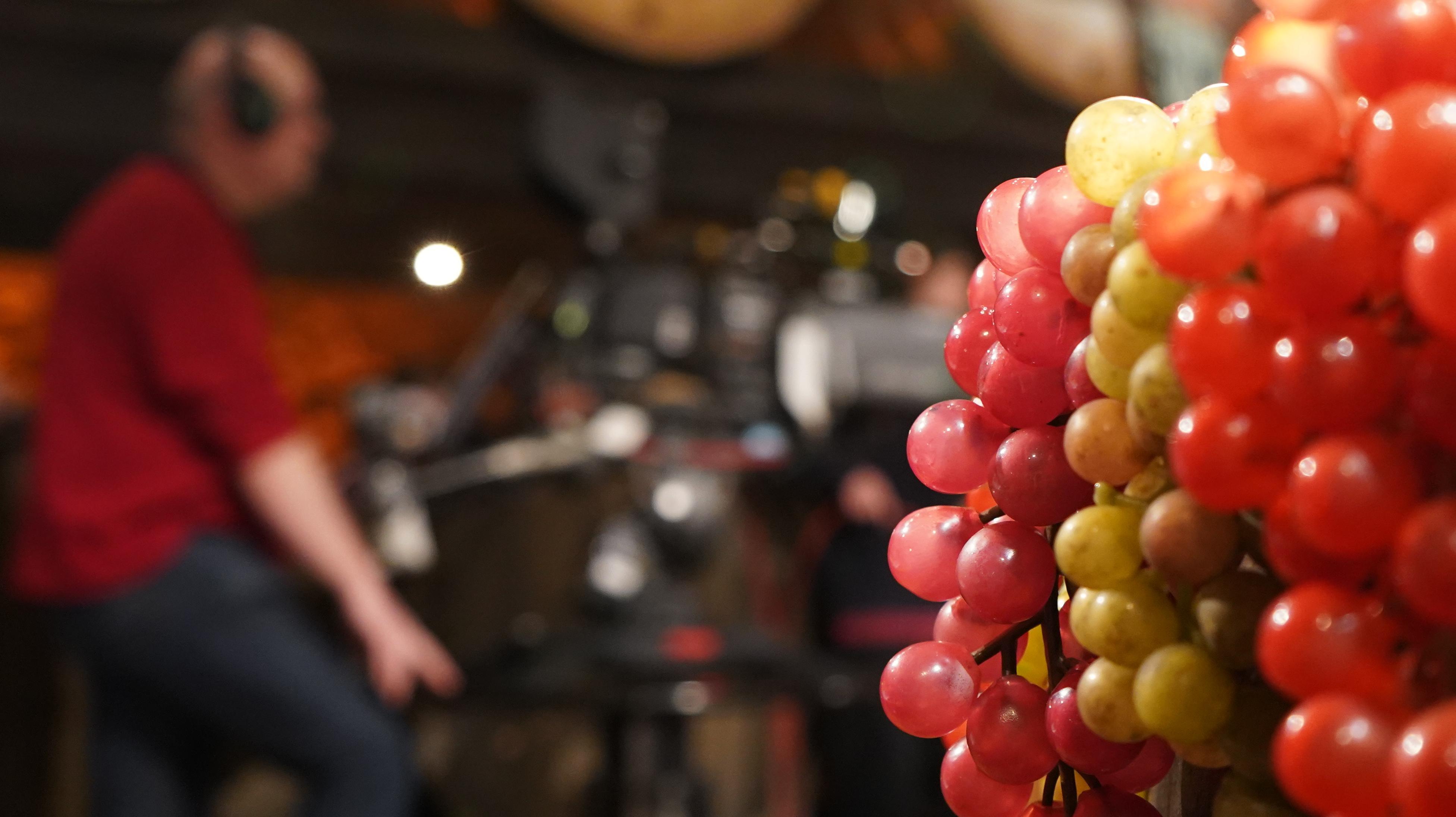 Künstliche Weintrauben - im Hintergrund ein Kameramann