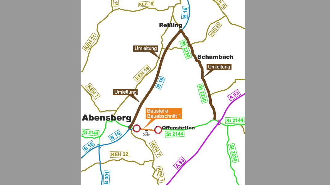 Straßenkarte mit der eingezeichneten Umleitung