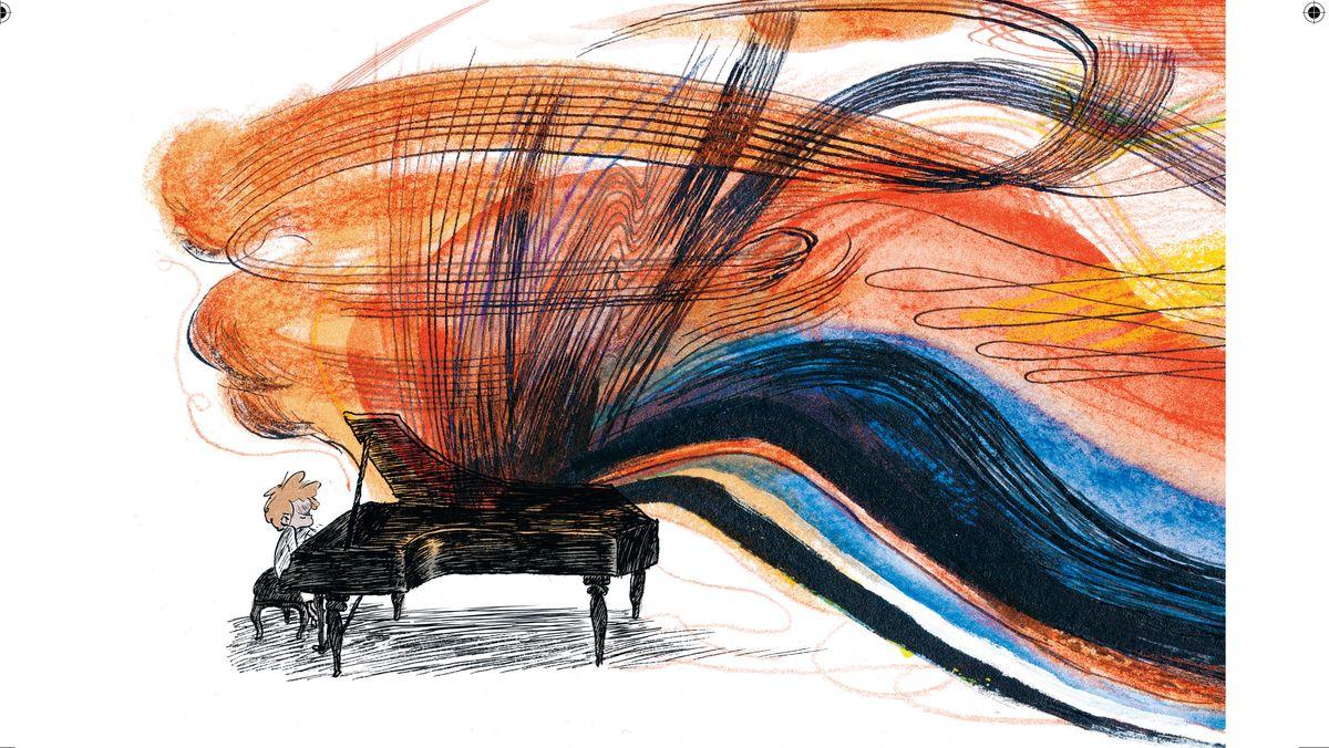 Der junge Beethoven komponiert und spielt am Flügel, die großartige Musik ist symbolisiert durch ungeheure Farbigkeit