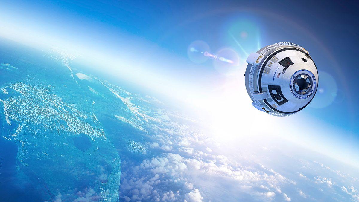 Starliner-Raumkapsel in der Erdumlaufbahn (künstlerische Darstellung)