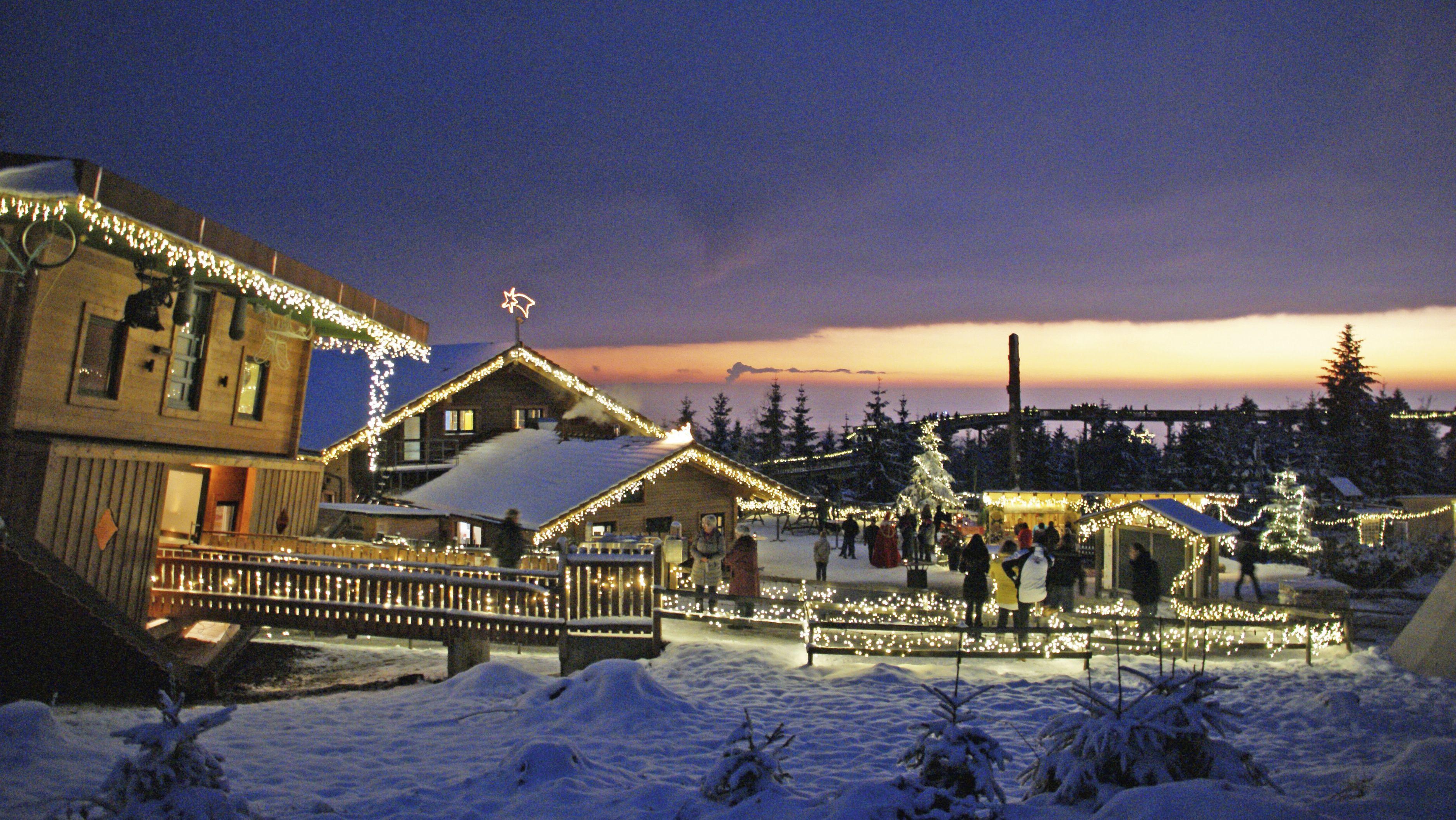 Ein Meer aus Lichtern beim Weihnachtsmarkt am Waldwipfelweg in Maibrunn, St. Englmar