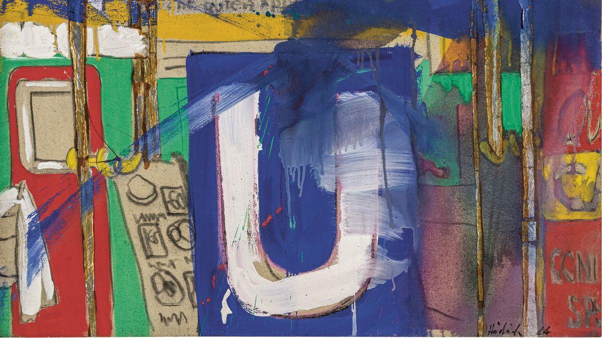 Farbintensives Gemälde mit einem U-Bahn-Zeichen in der Mitte