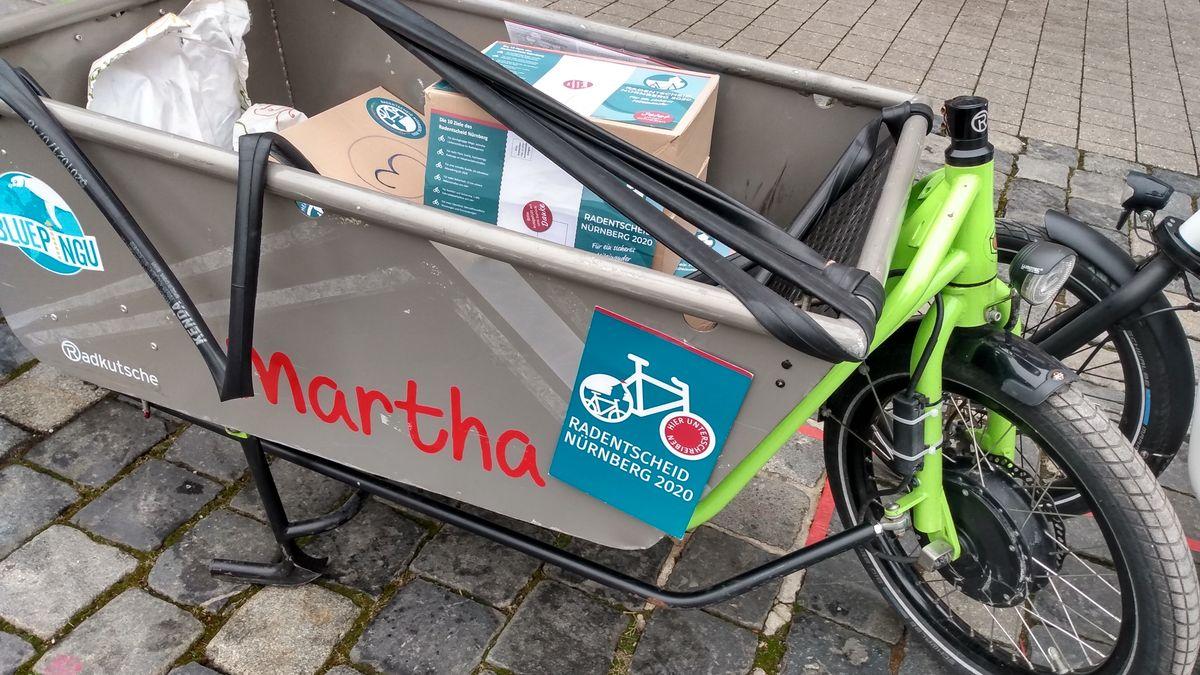 Lastenrad als Werbeträger für den Radentscheid Nürnberg 2020