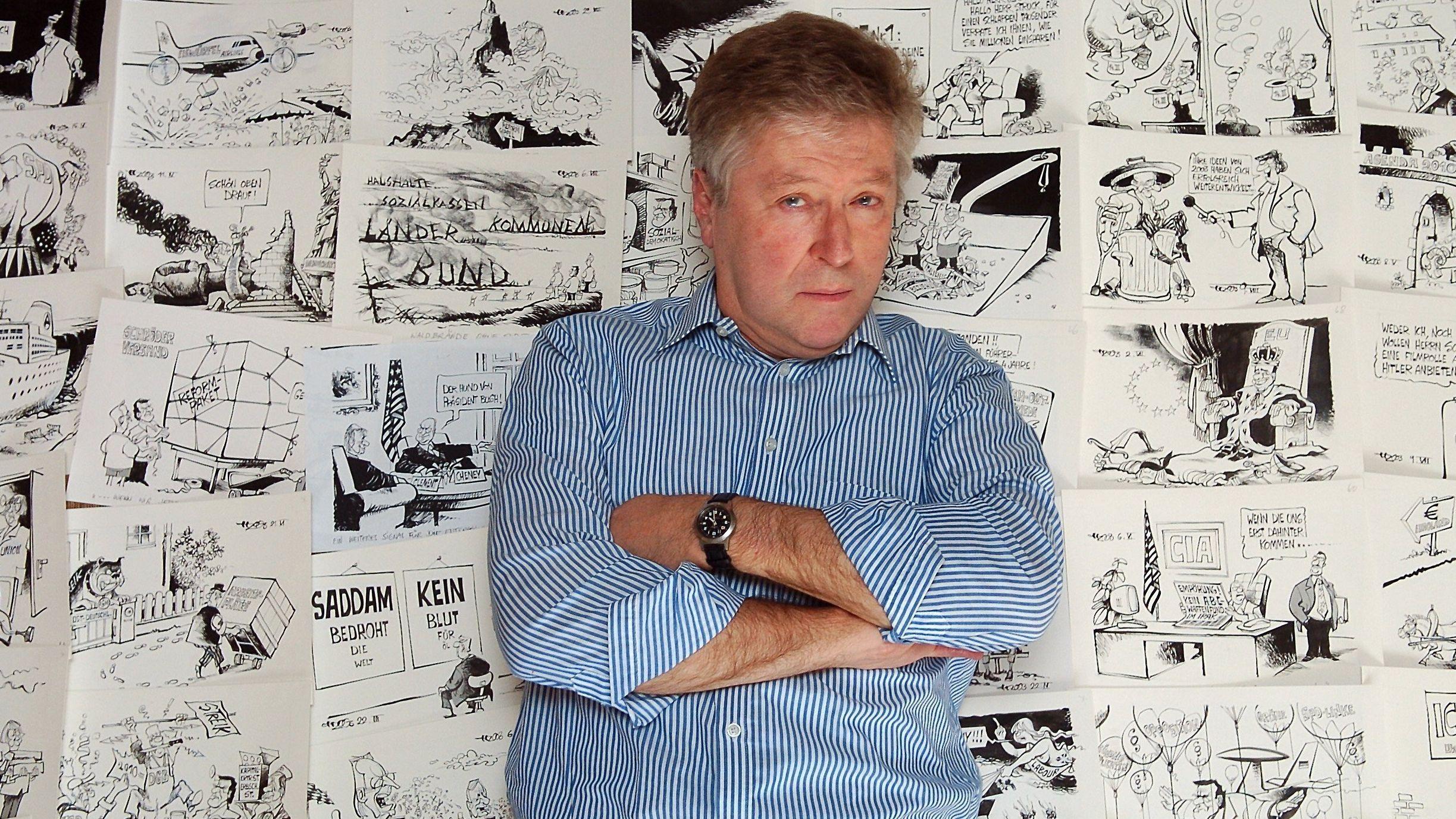 Der Karikaturist Horst Haitzinger und seine Karikaturen